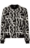 Topshop Grrrr Jersey Print Bomber Jacket - Lyst