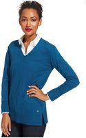 Tommy Hilfiger V-neck Tunic Sweater - Lyst