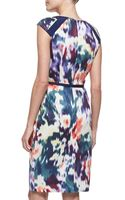 David Meister Printed Belted Capsleeve Sheath Dress - Lyst