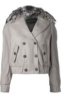 Brunello Cucinelli Leather Reversible Cropped Jacket - Lyst