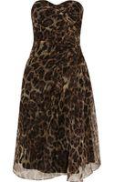 Badgley Mischka Leopard-print Silk-organza Dress - Lyst