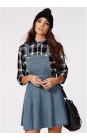 Missguided Octavia Denim Dungaree Dress Mid Wash - Lyst