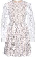 Michael Kors Broderie Anglaise Cotton Mini Dress - Lyst