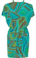Issa Wrap-effect Printed Silk Crepe De Chine Mini Dress - Lyst