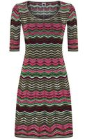M Missoni Chevron Knit Fit and Flare Dress - Lyst