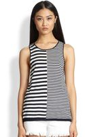 T By Alexander Wang Perforated Striped Linen  Cotton Tank - Lyst