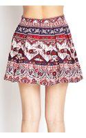 Forever 21 Folk Print Linen Skirt - Lyst