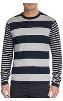 Michael Kors Striped Cotton  Cashmere Sweater - Lyst