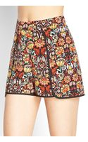 Love 21 Bright Floral Flutter Shorts - Lyst