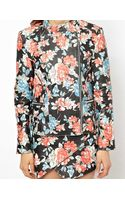 Hide Emma Quilted Leather Biker Jacket in Floral Print - Lyst