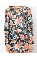Hide Emma Quilted Leather Biker Jacket in Floral Print - Lyst