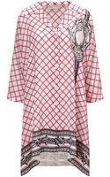 Mantu Pink Printed Silk Shirt Dress - Lyst