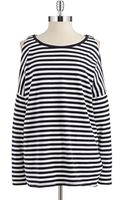 Michael by Michael Kors Striped Cold Shoulder Top - Lyst