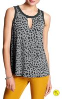 Banana Republic Factory Colorblock Cutout Top  Warm Neutral Print - Lyst