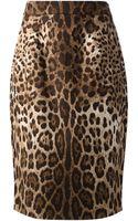 Dolce & Gabbana Leopard Print Pencil Skirt - Lyst