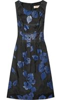 Lela Rose Embroidered Silkblend Dress - Lyst