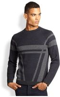 Armani Herringbone Check Sweater - Lyst
