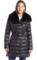 Dawn Levy Black Quilted Down Belted Izzie Rabbit Trim Coat - Lyst