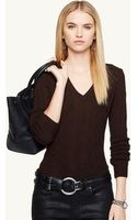 Ralph Lauren Black Label Cabled Cashmere V-neck Sweater - Lyst
