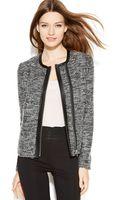 Calvin Klein Zip Front Boucle Jacket - Lyst