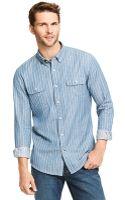 Tommy Hilfiger Custom Fit Chambray Stripe Shirt - Lyst