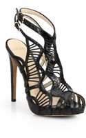 Alexandre Birman Leather and Snakeskin Cage Sandals - Lyst