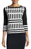St. John Santana Knit Striped Sweater - Lyst