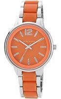 Anne Klein Ladies Silvertone Orange Bracelet Watch - Lyst
