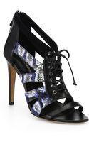 Rebecca Minkoff Leather Suede Snakeskin Sandals - Lyst