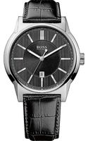 Hugo Boss Stainless Steel Watch with Crocodile Embossed Strap Black - Lyst