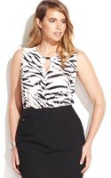 Calvin Klein Plus Size Animal Print Surplice Blouse - Lyst