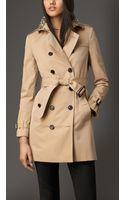 Burberry Short Gem Collar Gabardine Trench Coat - Lyst