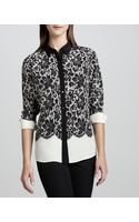 Go Silk Lace-print Silk Blouse - Lyst