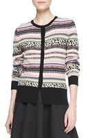 RED Valentino Animal Fair Isle Striped Cardigan - Lyst