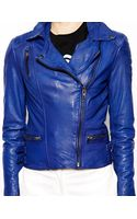 Muubaa Ollon Quilted Leather Jacket in Cobalt - Lyst