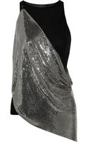 Versace Draped Modalblend and Chainmail Top - Lyst