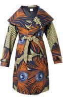 Stella Jean Lidia Peacock Feather-print Coat - Lyst