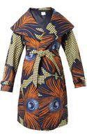 Stella Jean Lidia Peacock Feather-print Coat - Lyst