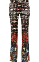 Roberto Cavalli Printed Silksatin Flared Pants - Lyst