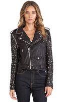 Maison Scotch Studded Leather Jacket - Lyst