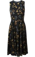 Dolce & Gabbana Key Print Flared Dress - Lyst