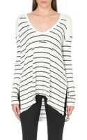 Free People Striped Stretch-jersey Top - Lyst