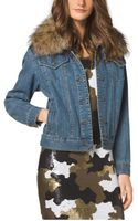 Michael Kors Furtrimmed Denim Jacket - Lyst