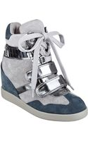 Guess Trevian Suede Wedge Sneakers - Lyst