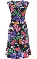 Lauren by Ralph Lauren Faux Wrap Dress with Cap Sleeve - Lyst
