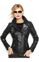 Michael Kors Michael Leather Moto Jacket - Lyst