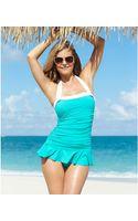 Lauren by Ralph Lauren Halter Ruched Tummy-control Swimdress - Lyst