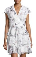 Marchesa Voyage Floral Print Ruffled Faux Wrap Dress - Lyst