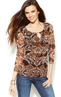 Inc International Concepts Ruched Printed Keyhole Top - Lyst