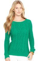 Lauren by Ralph Lauren Boat-neck Cable-knit Sweater - Lyst